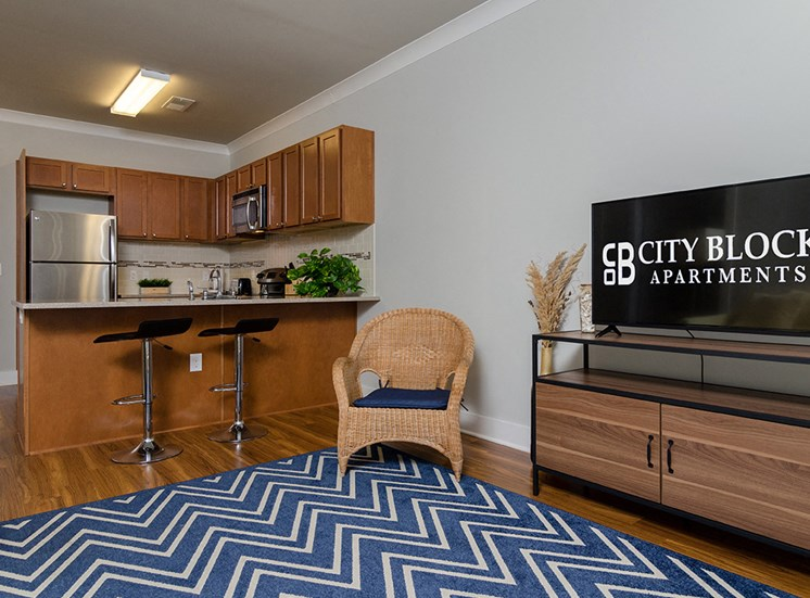 Living room and kitchen in Luxury Apartments near UNCW