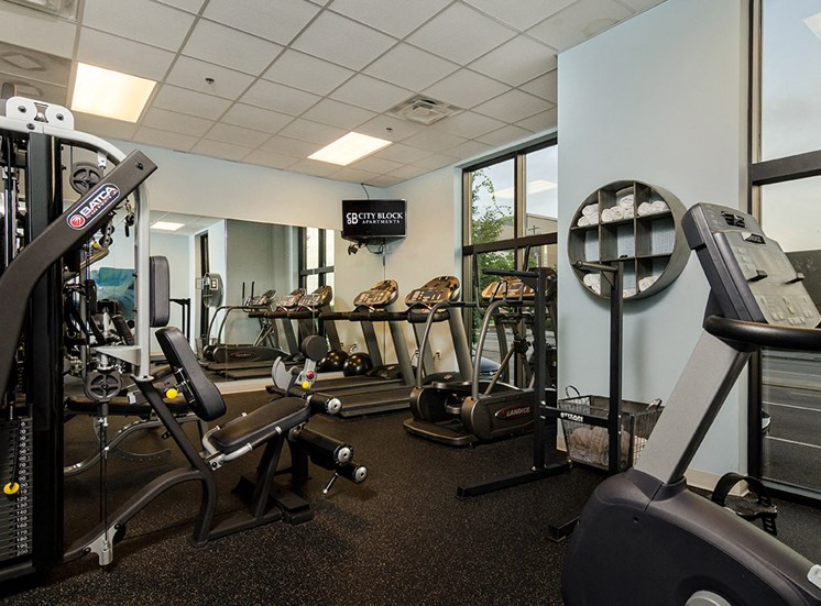 Fitness center at Luxury Apartments in downtown Wilmington NC