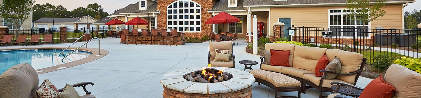Fire Pit and seating beside Pool at  Tyler's Ridge