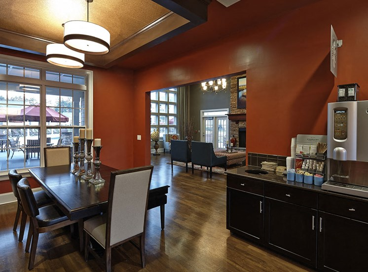 Clubhouse coffee bar at Southern Pines Apartments