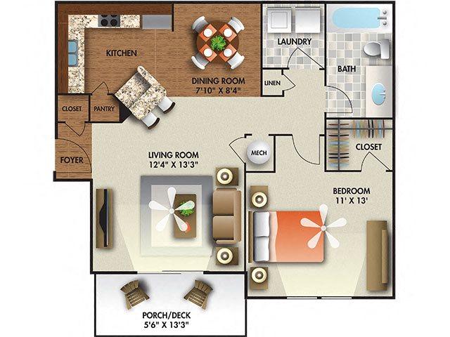 1 Bedroom floor plan.