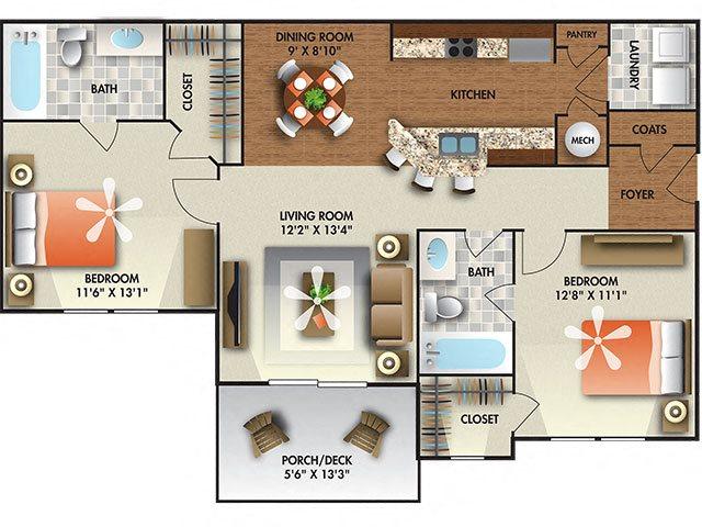 2 Bedroom 2 Bath floor plan.