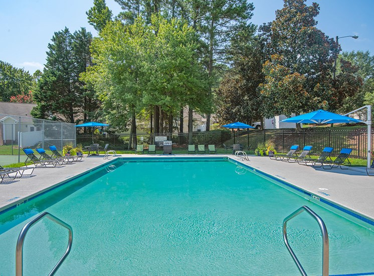 Beautiful Pool at Fairgate Apartments Townhomes in Raleigh NC