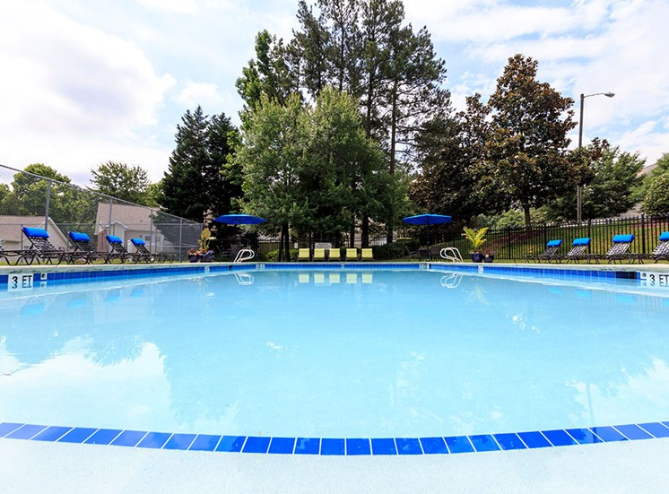 Pool at eye level at Fairgate Apartments in Raleigh NC