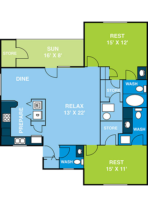Two Bedroom Garden Floor Plan 1