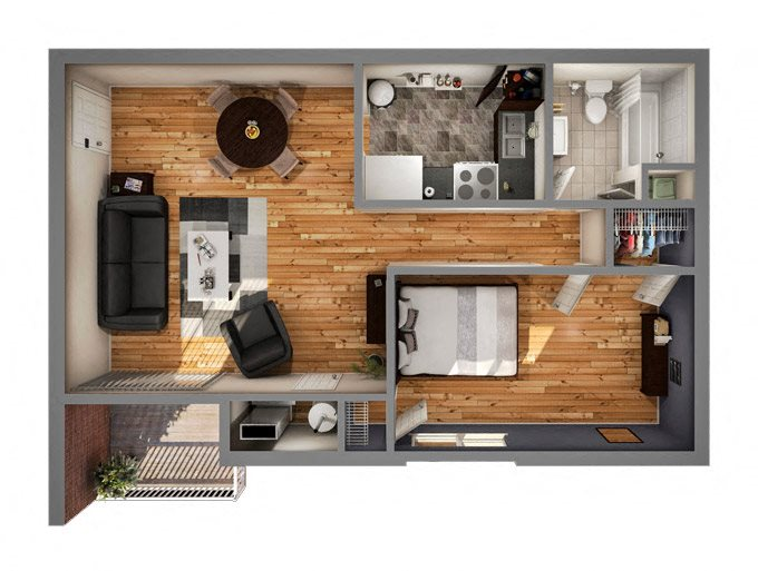 Phase I One Bedroom Floor Plan 1
