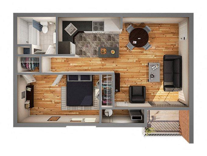 Phase II One Bedroom Floor Plan 2