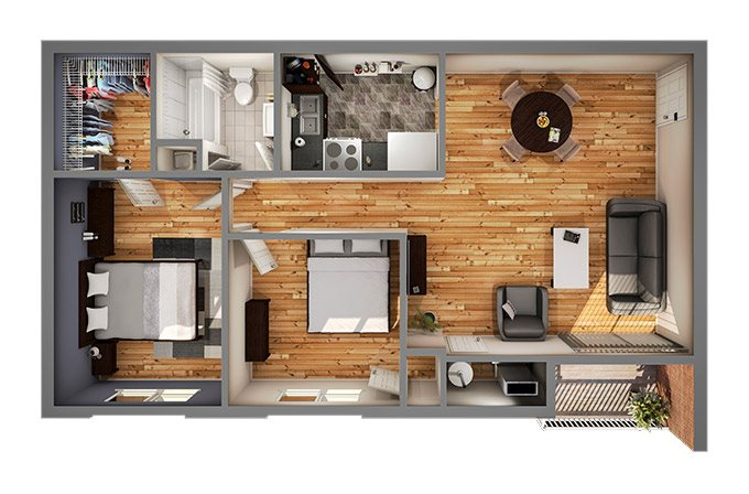 Phase I Two Bedroom Floor Plan 3