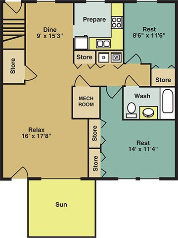The Willow Apartment Floor Plan 6