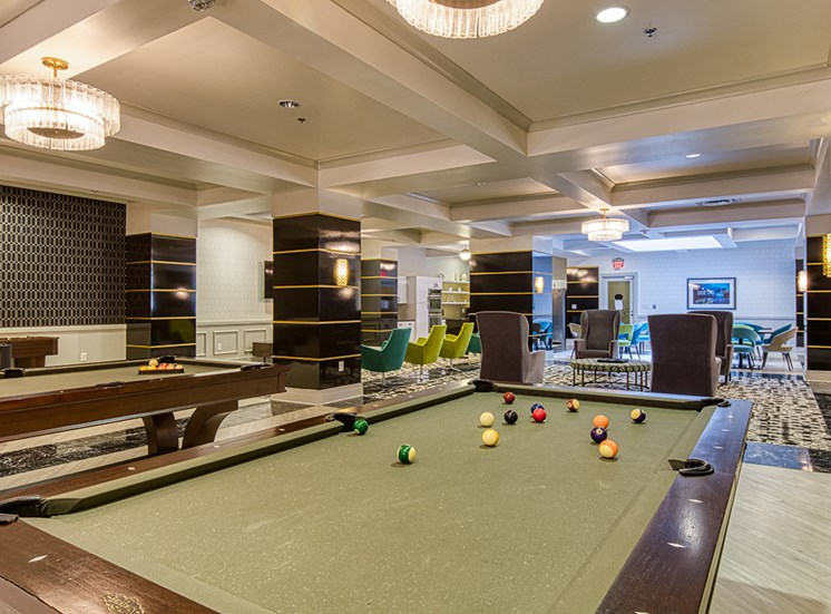 Clubroom Pool Table at Deco at CNB in Richmond VA