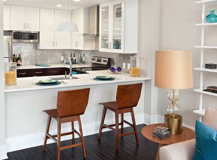 Luxury kitchen with breakfast bar at Deco Apartments