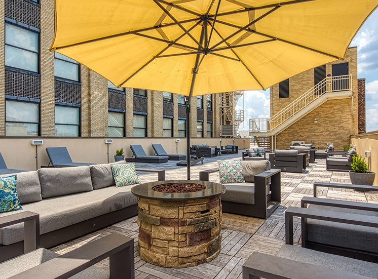Shaded seating on the Rooftop Patio