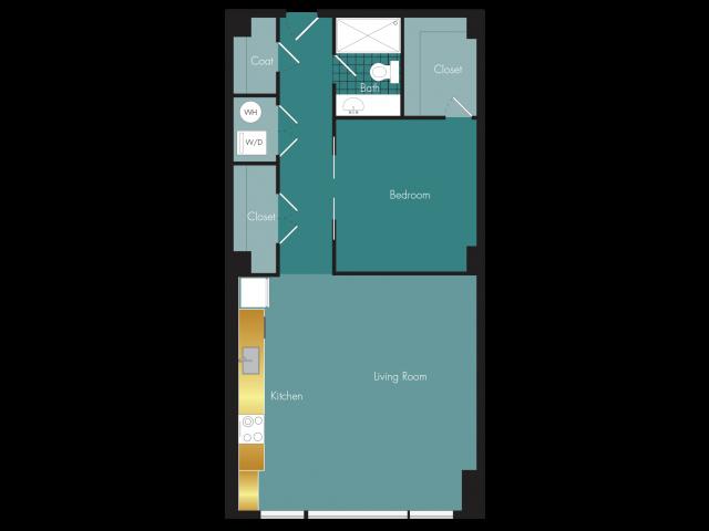 Attaboy - 1BR - 1 bath Floor Plan 3