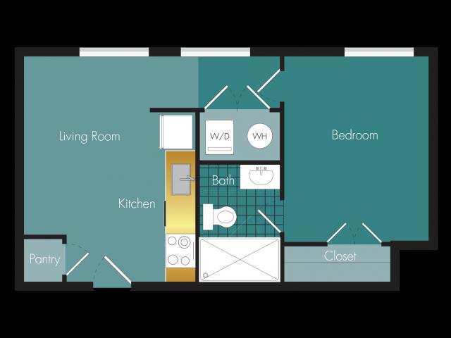 Breezer - 1BR - 1 bath Floor Plan 4