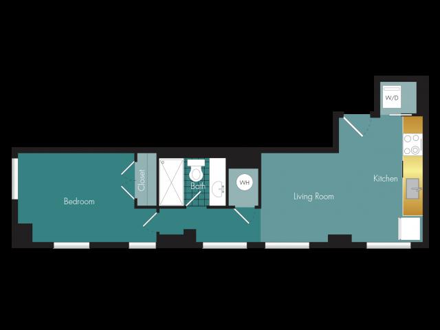 High Hat - 1BR - 1 bath Floor Plan 5