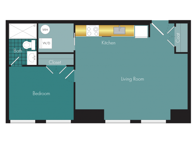 Swell - 1BR - 1 bath Floor Plan 6