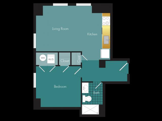 Upstage - 1BR - 1 bath Floor Plan 7