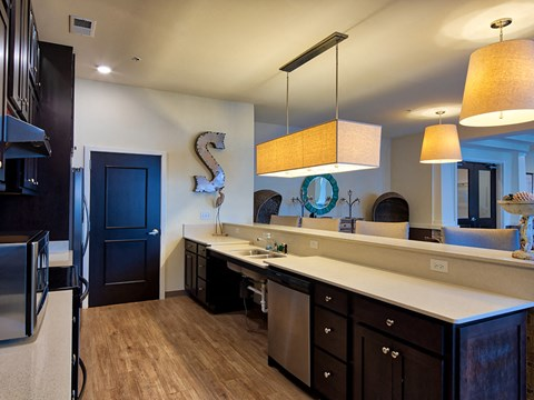 Clubhouse kitchen at Solace Apartments in Virginia Beach