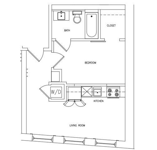 1 BED 1 BATH A Floor Plan 2