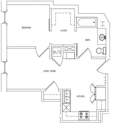 1 BED 1 BATH B Floor Plan 3