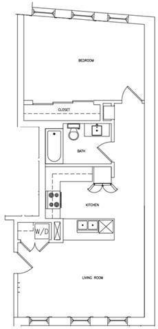 1 BED 1 BATH C Floor Plan 4