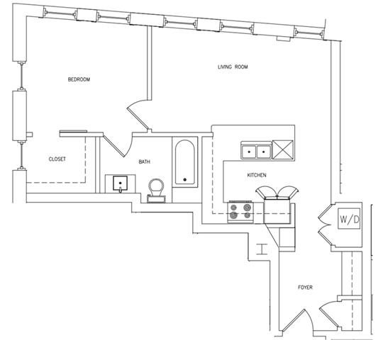 1 BED 1 BATH D Floor Plan 5
