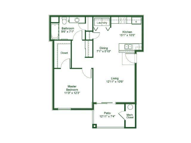 One Bedroom Floor Plan 3