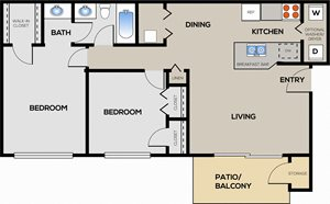 2 Bedroom 1 Bathroom A