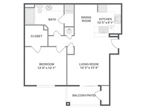 One Bedroom One Bathroom Floor Plan Calder