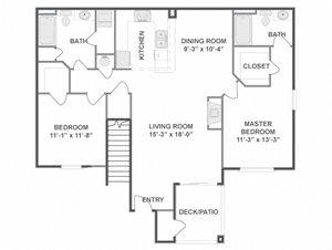 Two Bedroom Two Bathroom Floor Plan Monet