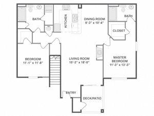 Two Bedroom Two Bathroom Floor Plan Wyeth