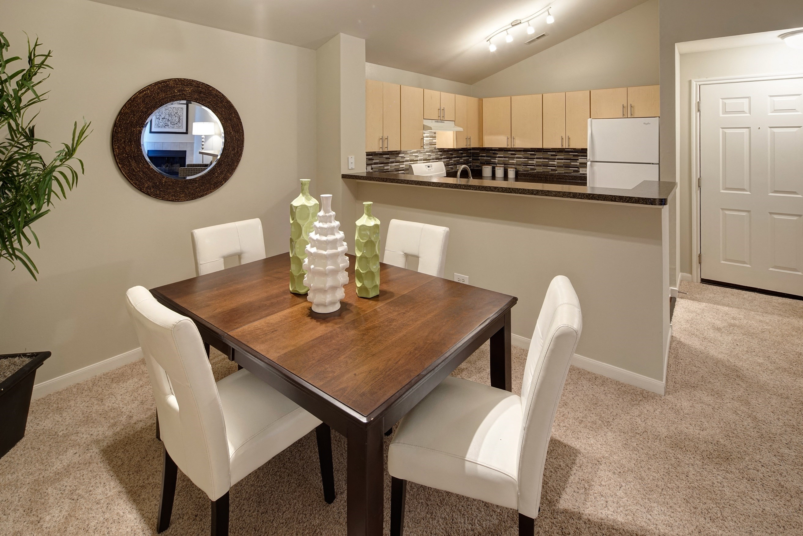 Open concept modern dining room and kitchen
