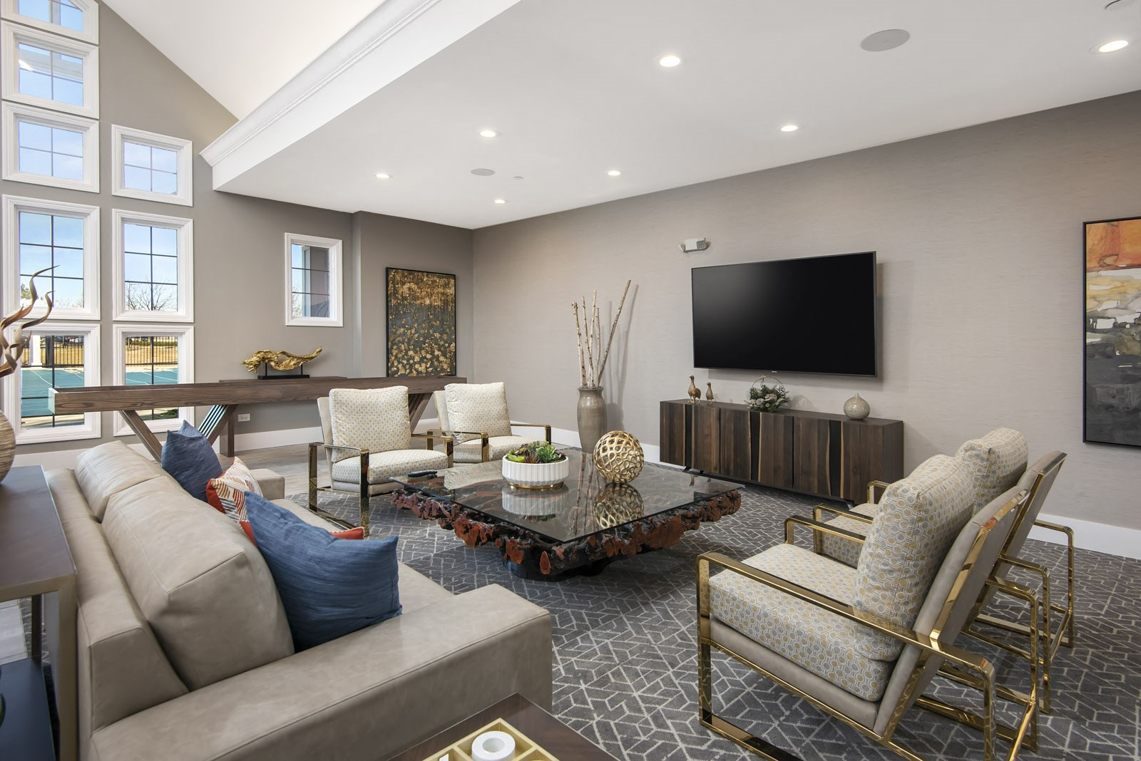 TV with seating area