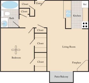 1 Bed / 1 Bath A1 Floor Plan 1