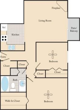 2 Bed / 1 Bath B1 Floor Plan 2