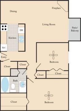 2 Bed / 1 Bath B2 Floor Plan 3