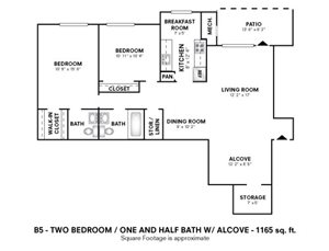 2 Bedroom 1.5 Bath with Alcove or Den
