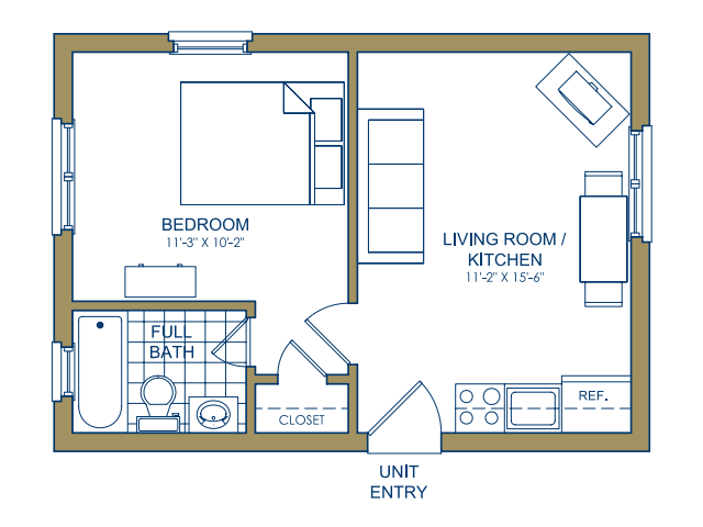 Patterson Place - One Bedroom Floor Plan 8