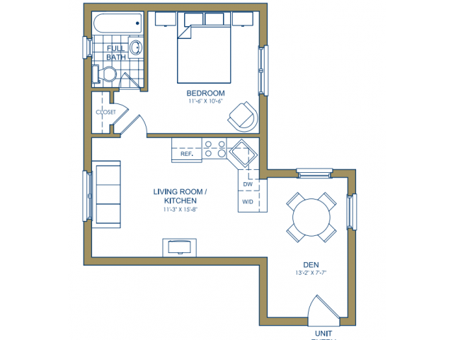 Patterson Place - One Bedroom-E Floor Plan 12