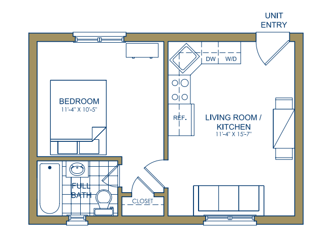 Patterson Place - One Bedroom-F Floor Plan 13