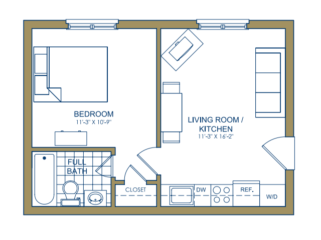 Patterson Place - One Bedroom-C Floor Plan 10