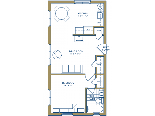 Patterson Place - One Bedroom-D Floor Plan 11