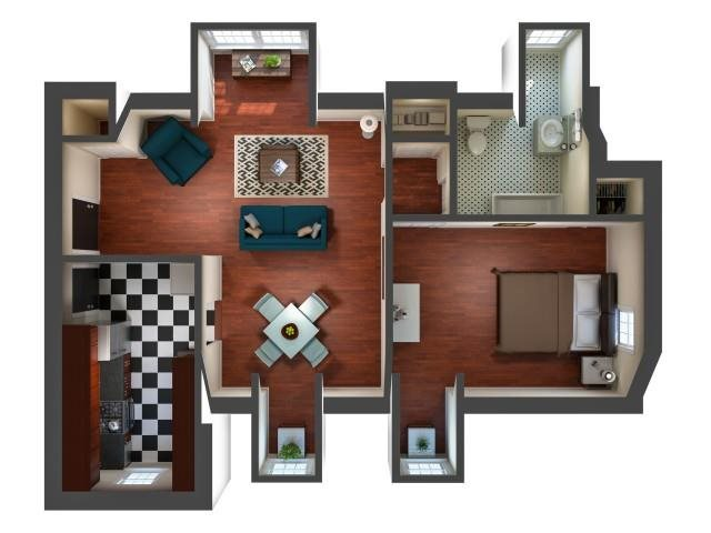 Kensington Place - One Bedroom - Gallery Floor Plan 6