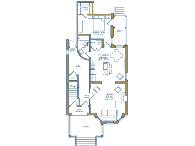 Grove Avenue - One Bedroom Floor Plan 2