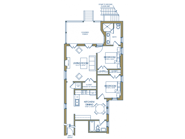 Grove Avenue - Two Bedroom Floor Plan 3