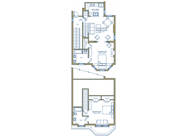 Grove Avenue - Grove Bedroom Floor Plan 1
