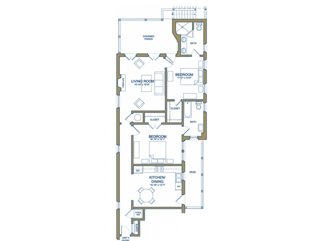 Grove Avenue - Two Bedroom with Garage Floor Plan 4