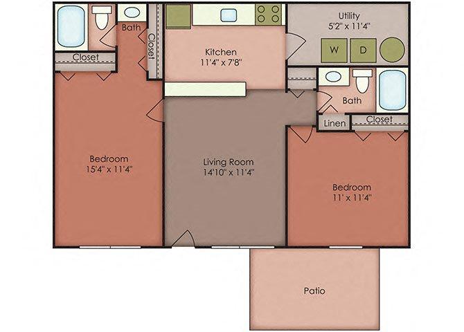 2 Bedroom Floor Plan 5