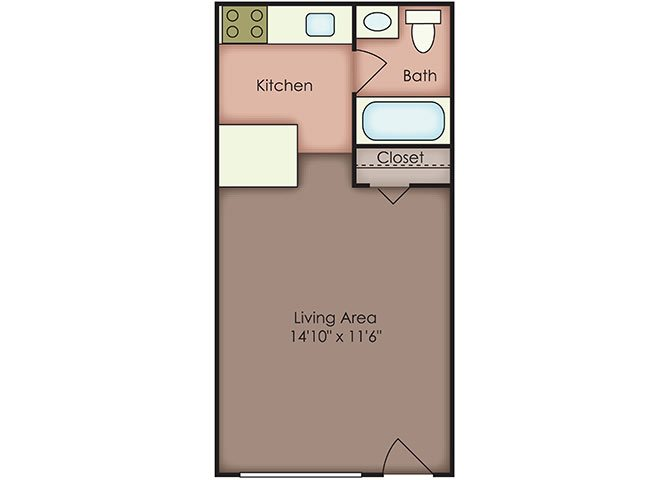 Furnished Studio Floor Plan 1