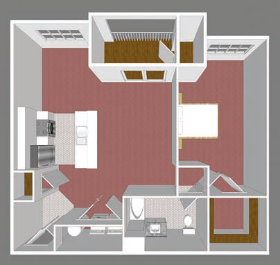 **New Construction** One Bedroom Floor Plan 2